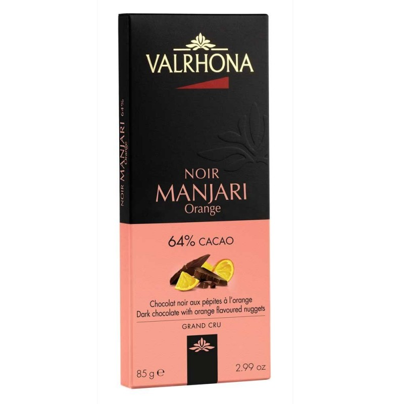 Tablette de chocolat noir Valrhona Manjari orange 64%